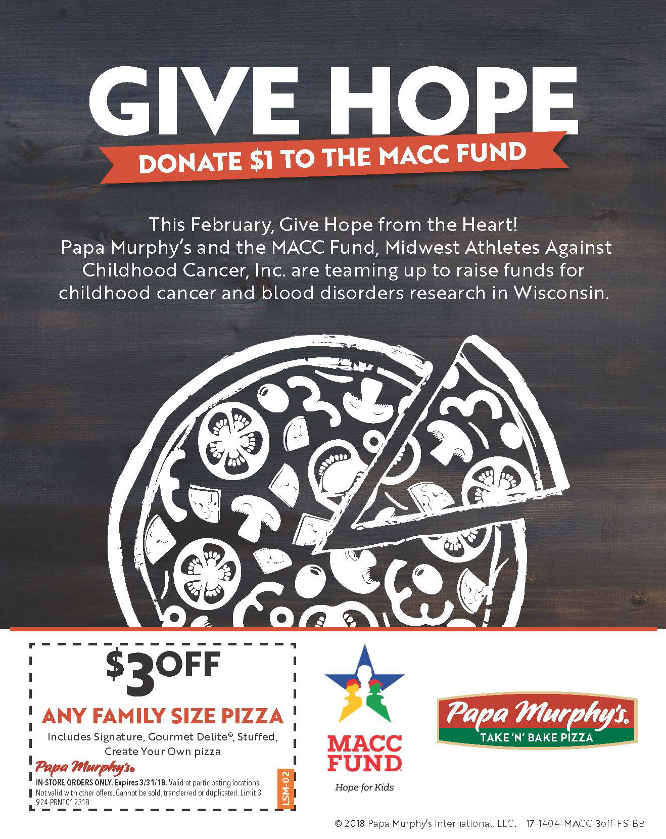 Give HOPE from the Heart at Milwaukee Area Papa Murphy's ...